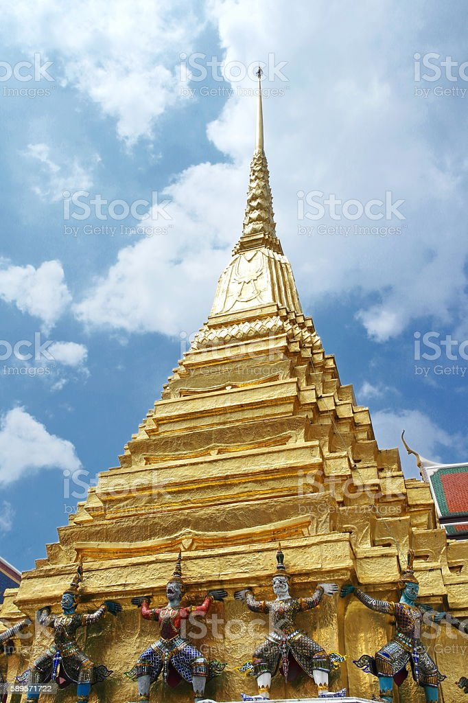 Stupa at Wat Phra Kaew in Bangkok. stock photo