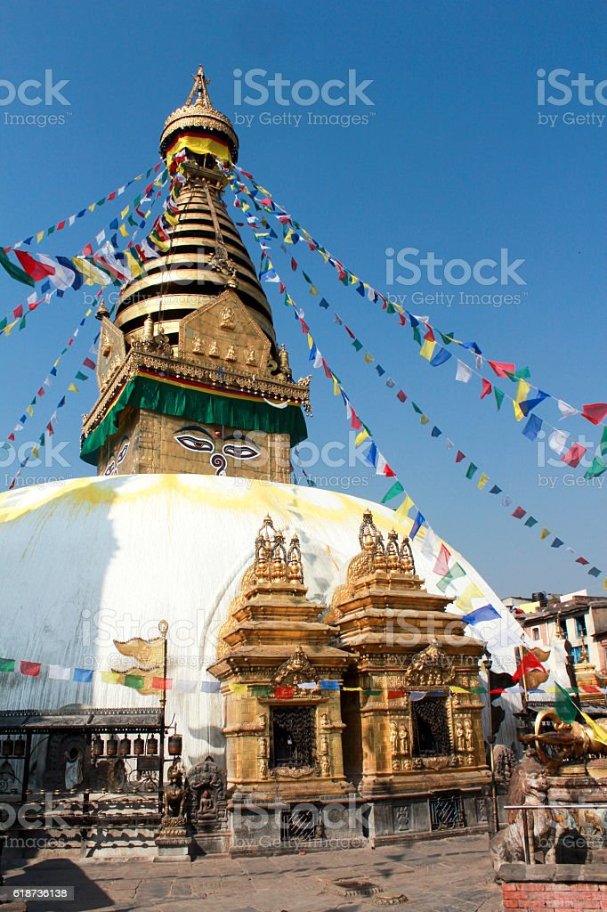 Stupa Bodnat, flags and flowers in Kathmandu stock photo