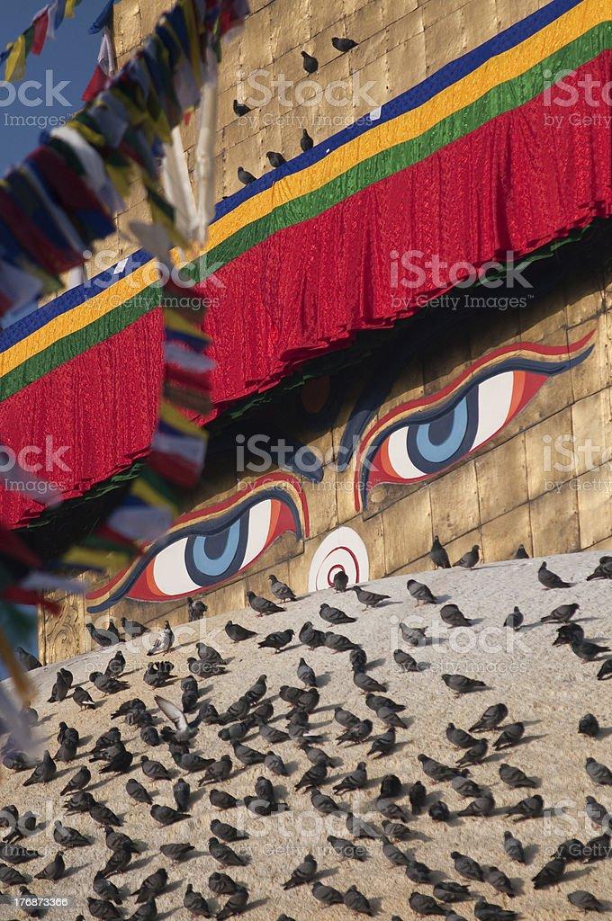 Stupa de Katmandou détail je Chabahil, Népal photo libre de droits