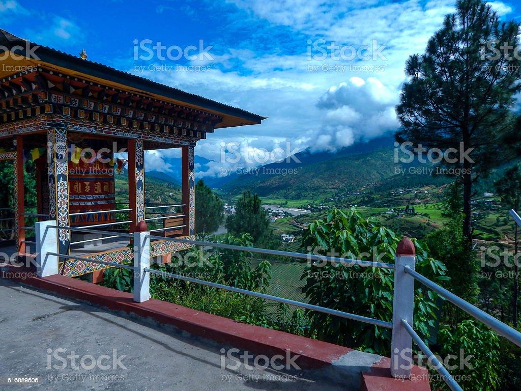 Stupa facing a beautiful Bhutan valley royalty-free stock photo