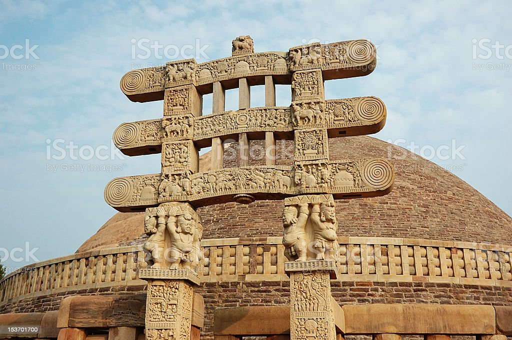 Stupa Gates at Sanchi,buit by Ashoka, famous indian landmark stock photo