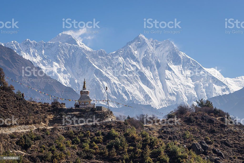 Stupa in front of Everest and Lhotse mountain, Everest region, Nepal stock photo