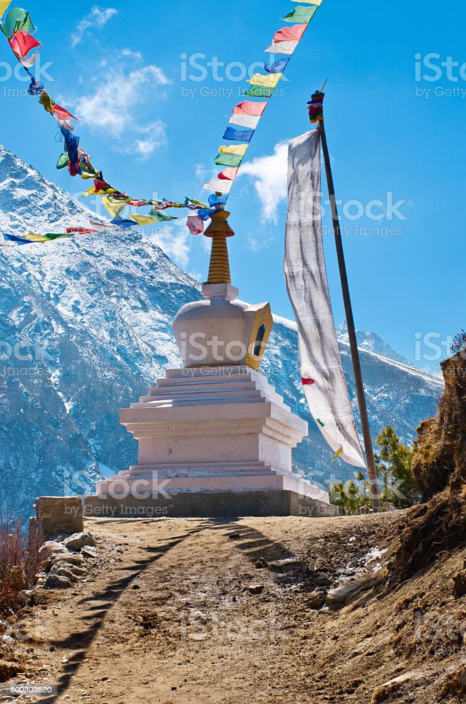 Stupa in Himalayas, Nepal stock photo