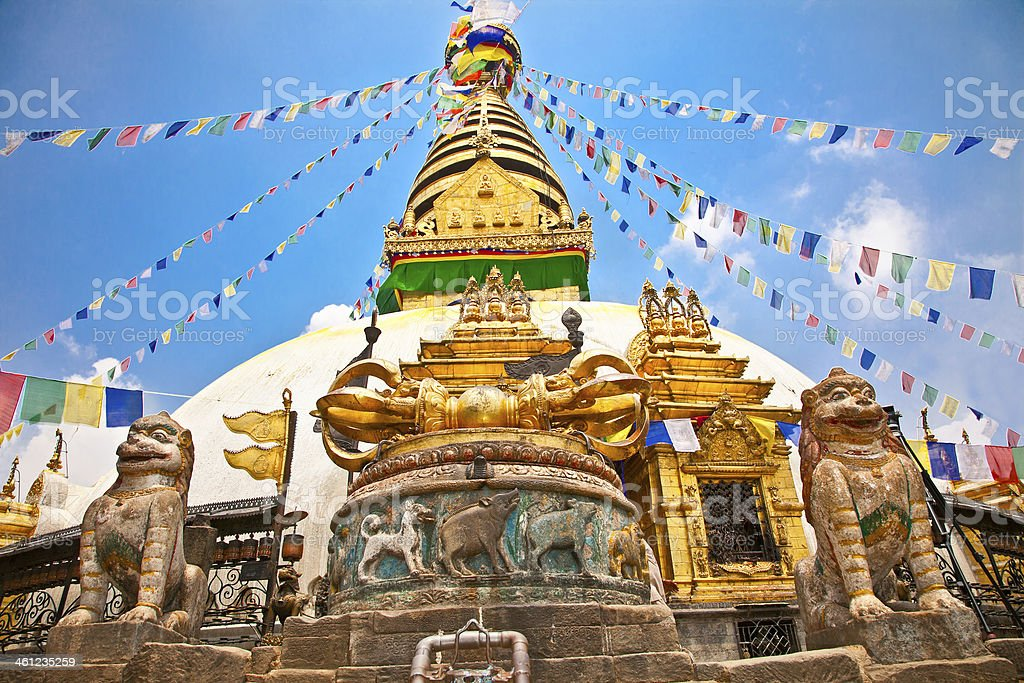 Stupa in Swayambhunath  Monkey temple ,  Kathmandu, Nepal. stock photo