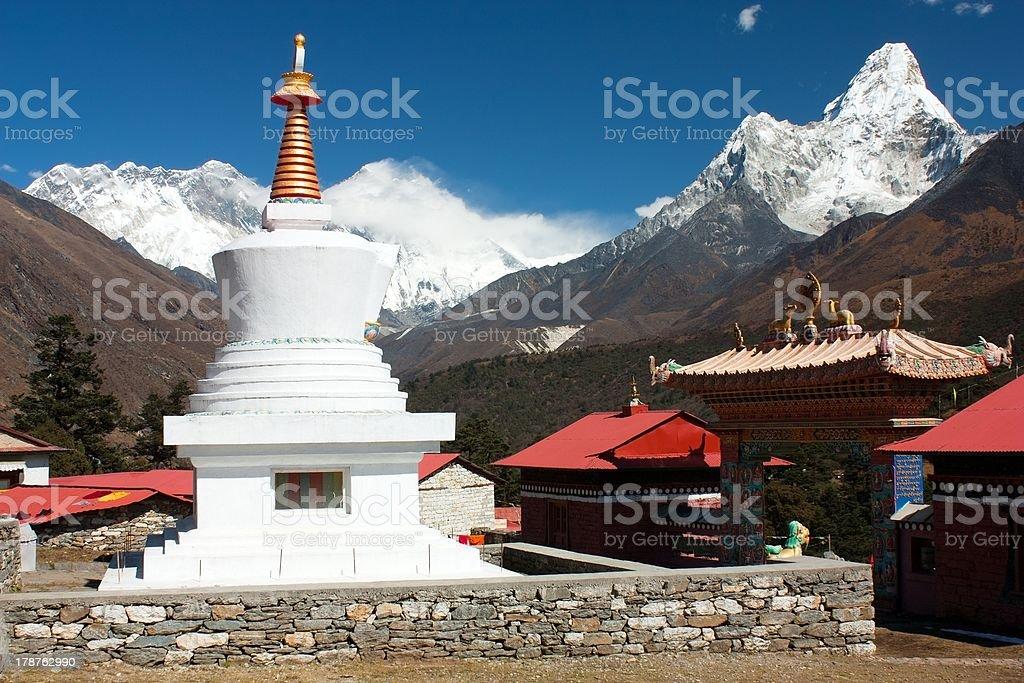 Stupa in Tengboche monaster royalty-free stock photo