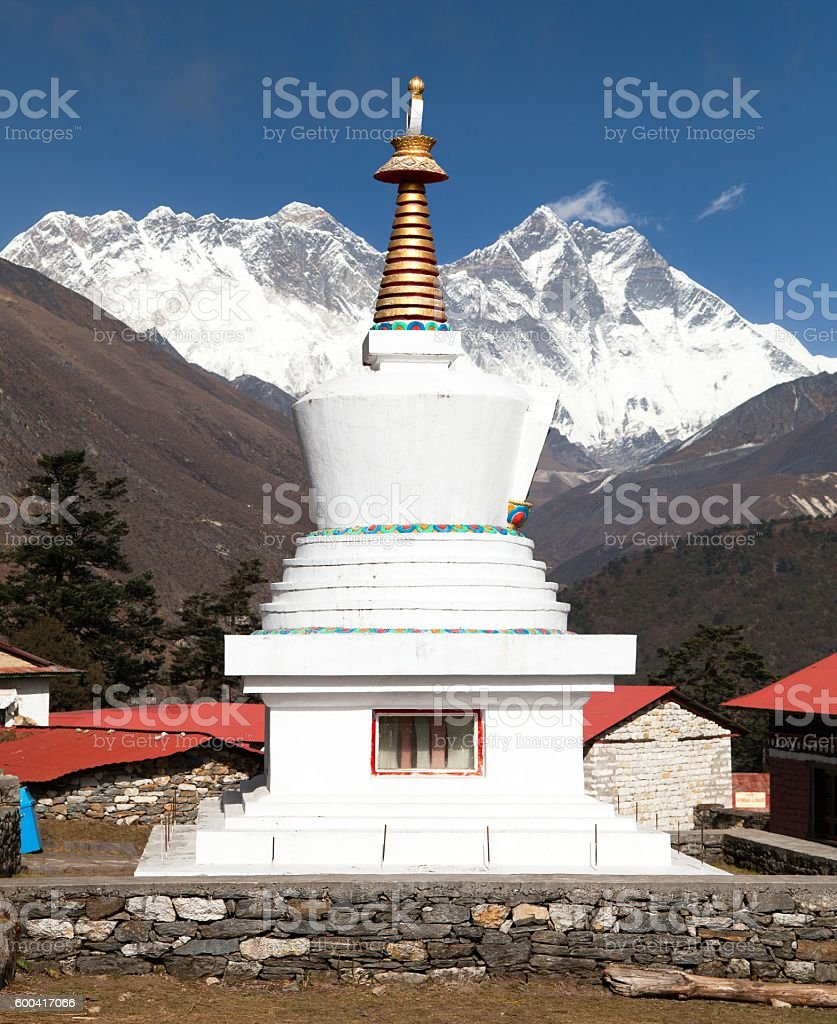 Stupa, Lhotse and top of Everest from Tengboche monastery stock photo