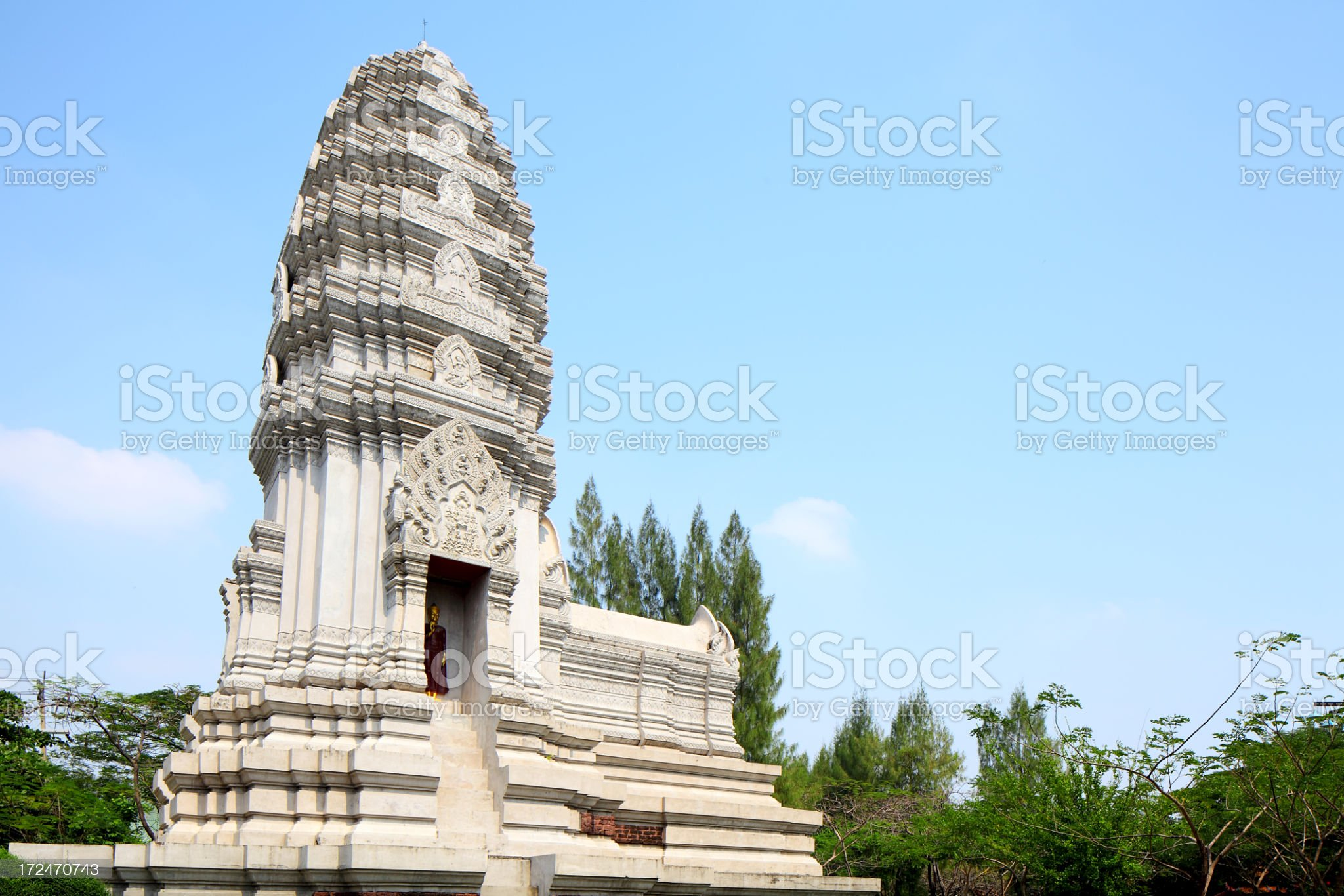 Stupa of Phra Mahathat, Ratchaburi royalty-free stock photo