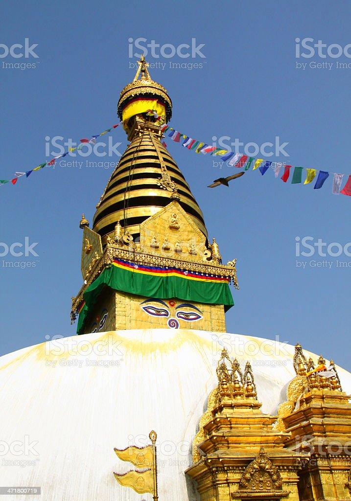 Stupa of the swayambhunath temple in kathmandu, Nepal royalty-free stock photo