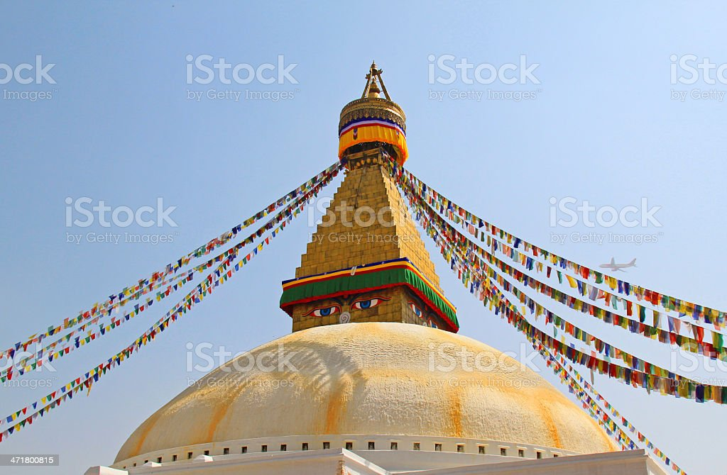 Stupa of the swayambhunath temple in kathmandu, Nepal royalty-free stock photo