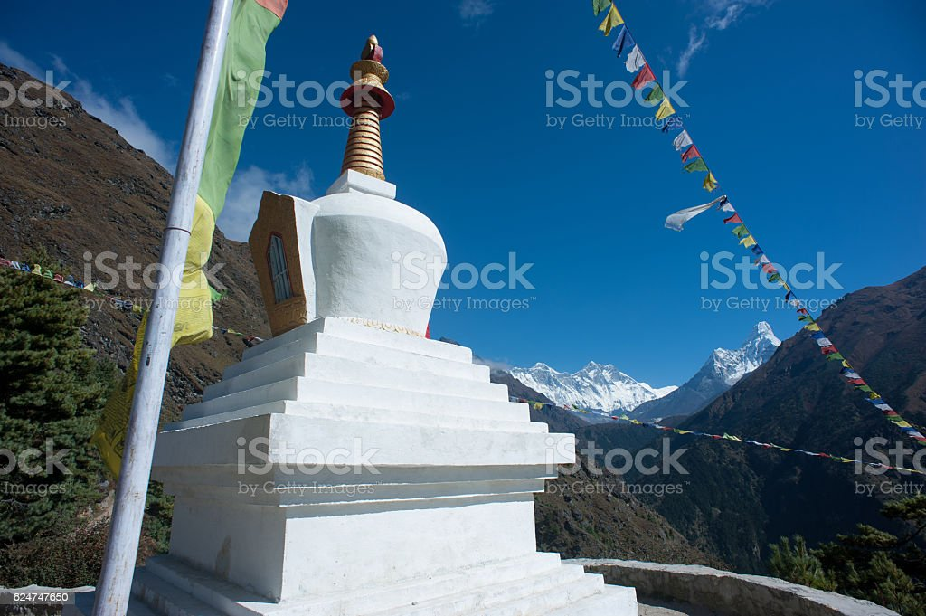 stupa on the way to everest base camp,nepal stock photo