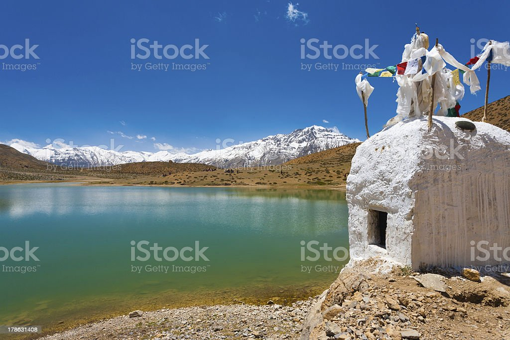 Stupa Pristine Mountain Lake Buddhist Dhankar stock photo