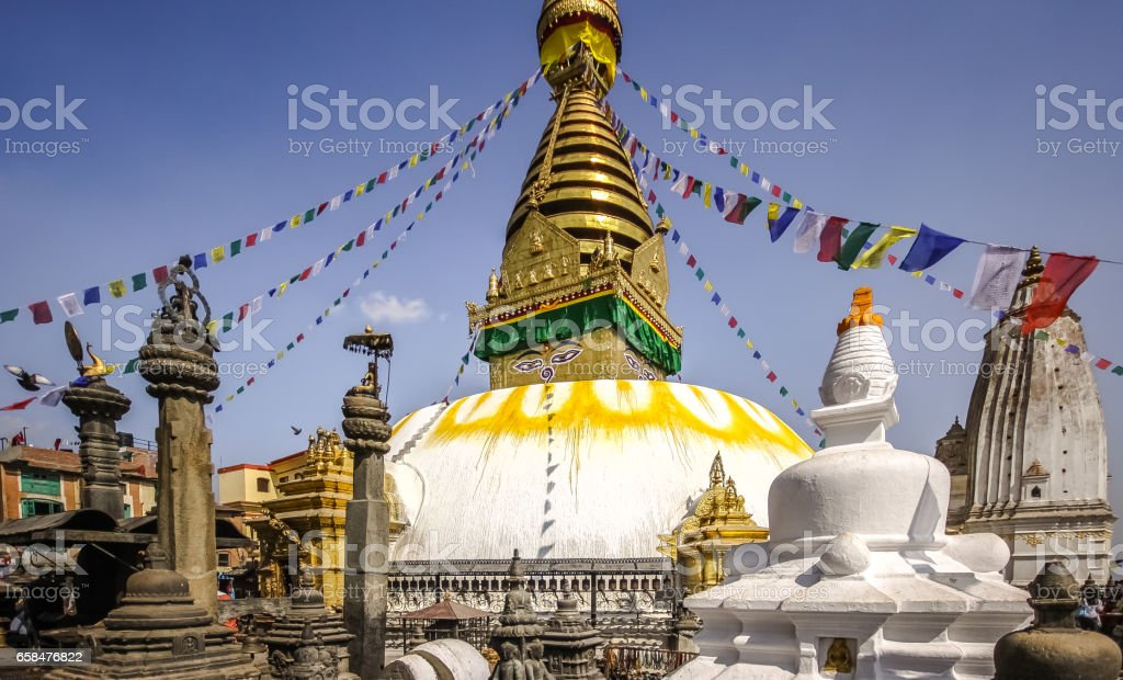Stupa Swayambhunath with prayer flags, Kathmandu Valley stock photo