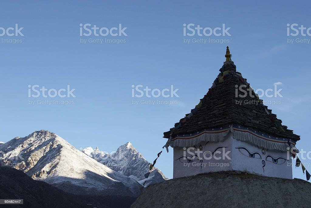 Stupa with Buddha Eyes, Himalayas, Nepal royalty-free stock photo
