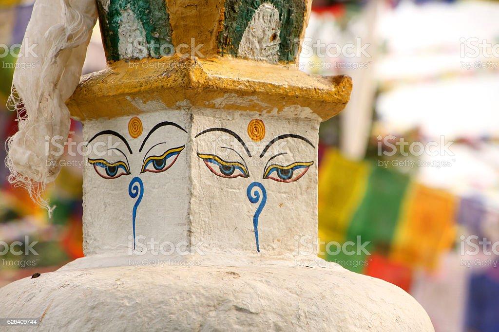 Stupa with painted face at Swayambhu Nath temple, Kathmandu, Nepal. stock photo