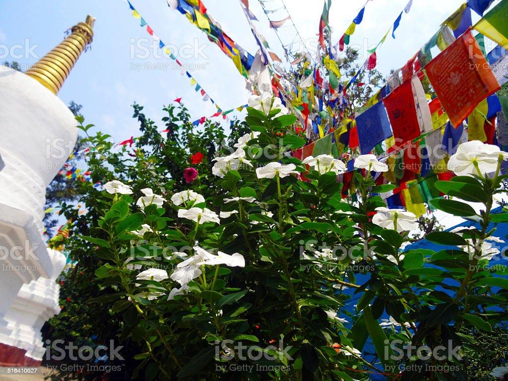 Stupa with prayer flags stock photo