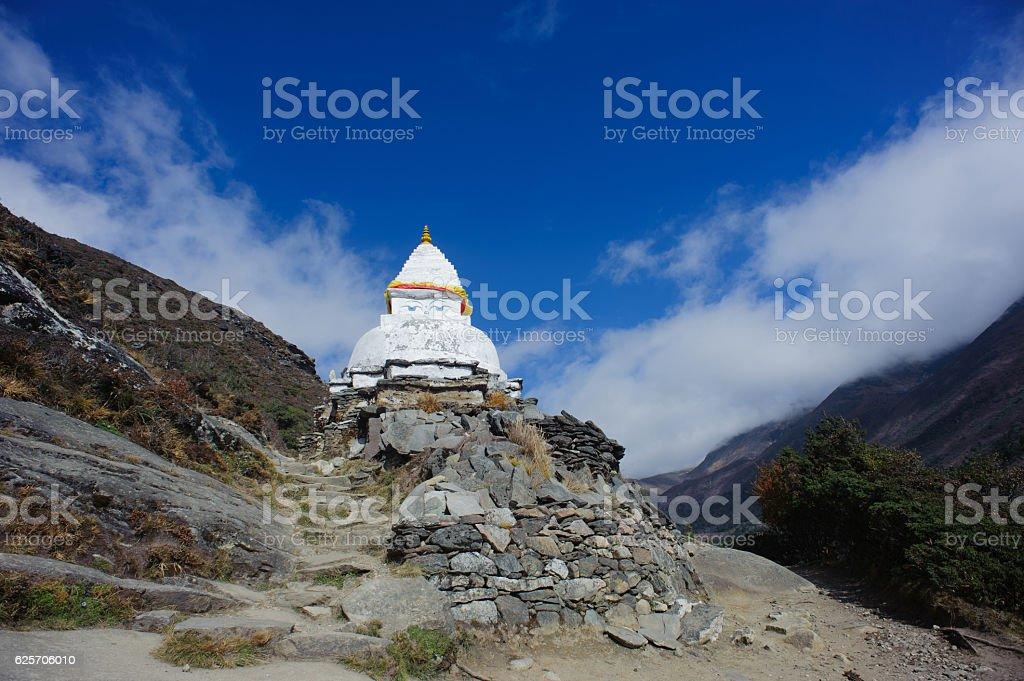 stupa with wisdom eye stock photo