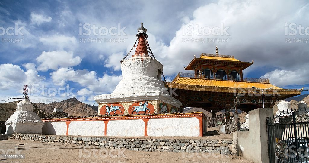 Stupas and Friendship Gate in Leh stock photo
