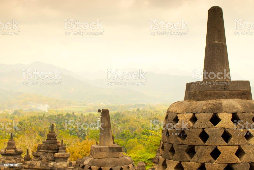 Stupas and Landscape at Borobudur stock photo