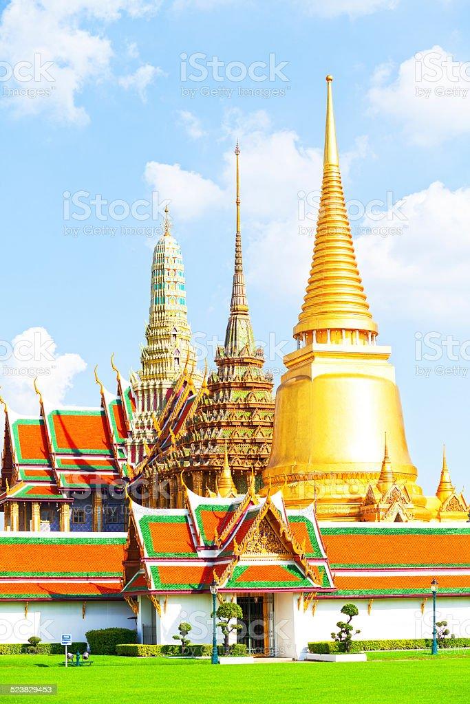 Stupas and temples of Wat Phra Kaeo stock photo