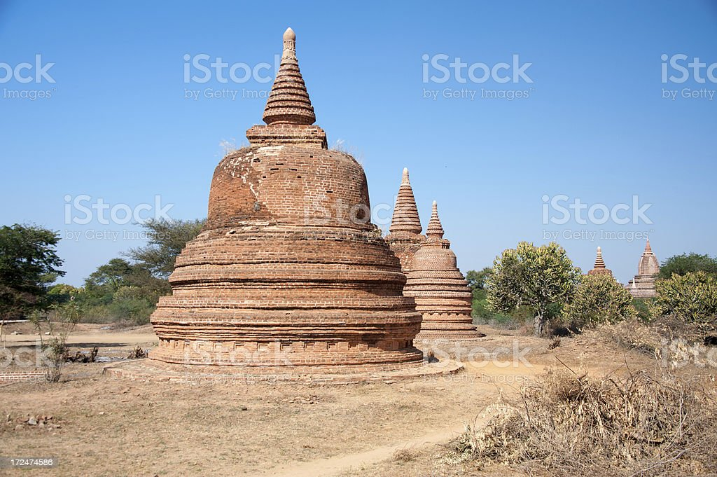 Stupas in Bagan, Myanmar royalty-free stock photo