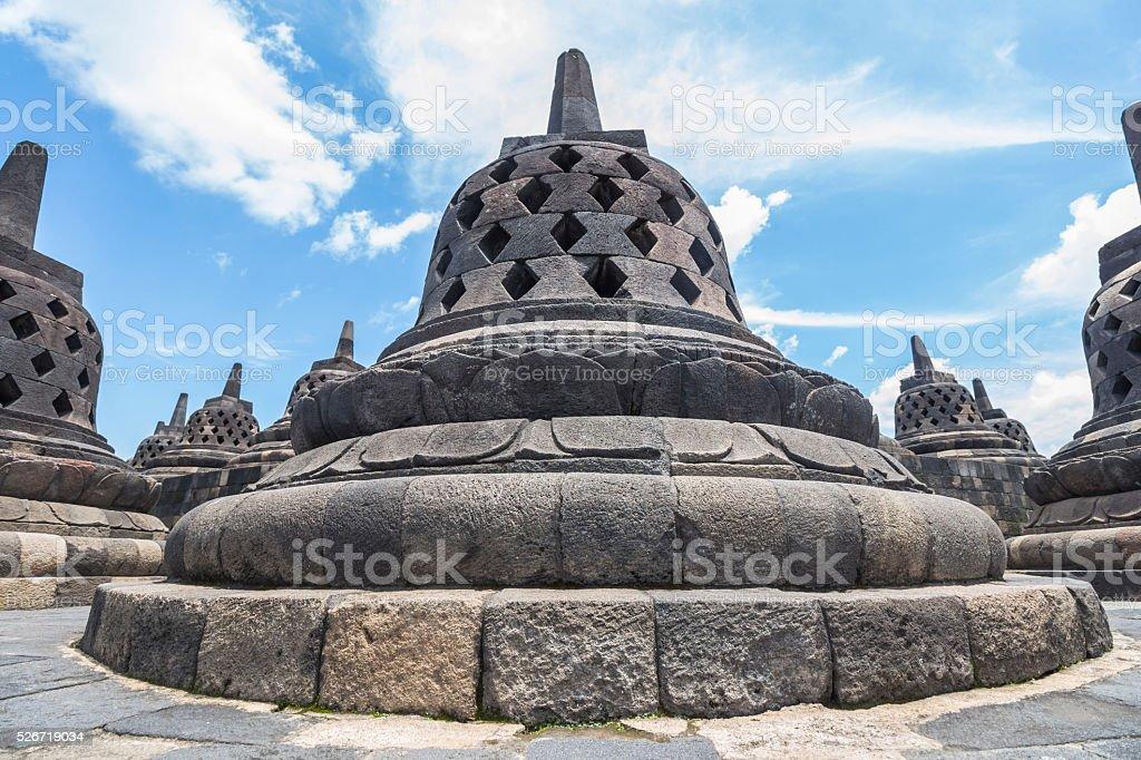 Stupas in Borobudur temple stock photo