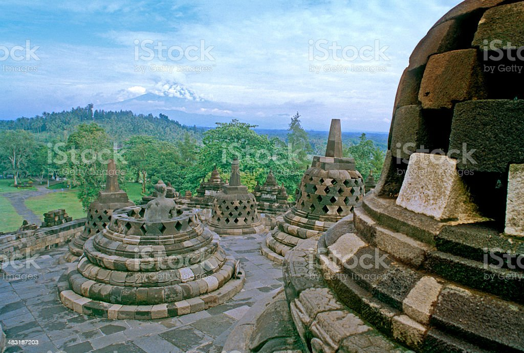 Stupas of Borobudur Temple, Indonesia stock photo
