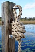 Sturdy rope knot on post