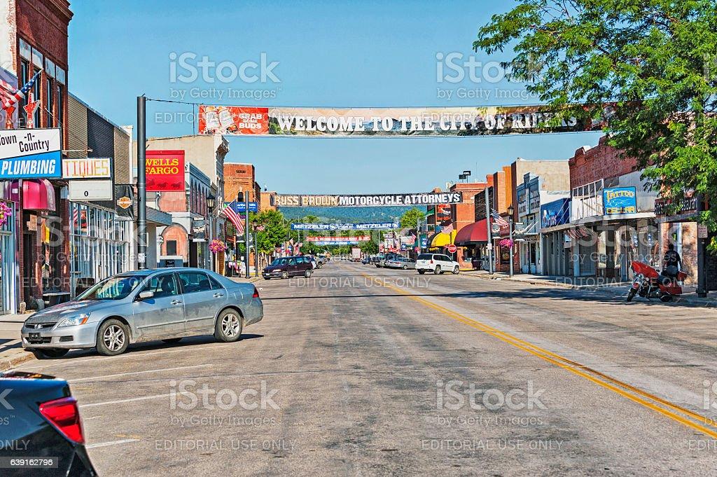 Sturgis South Dakota Main Street before the crowds stock photo