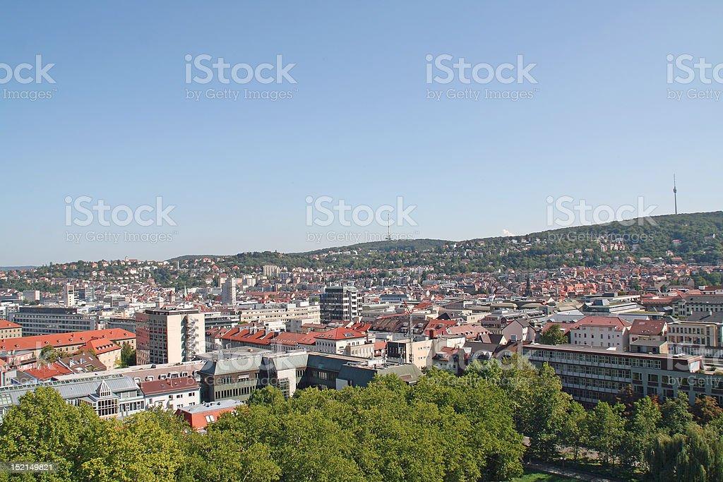 stuttgart city panorama stock photo