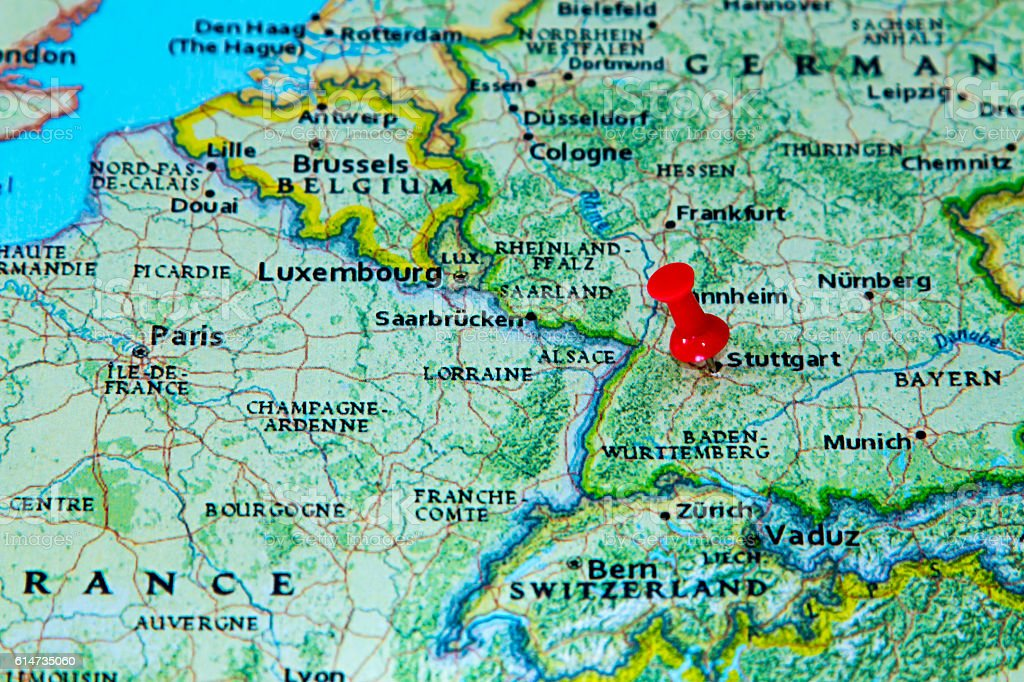 stuttgart germany pinned on a map of europe royalty free stock photo