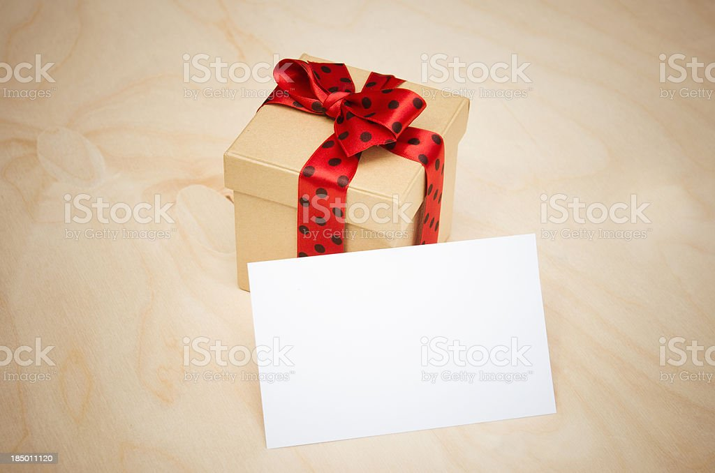 St.Valentine gift with white card royalty-free stock photo