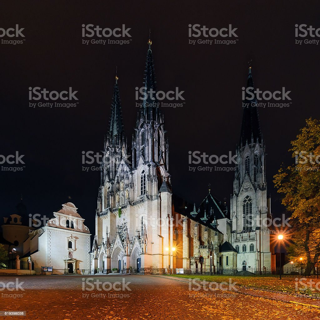 St.Wenceslas Cathedral in Olomouc in autumn. Czech Republic. stock photo