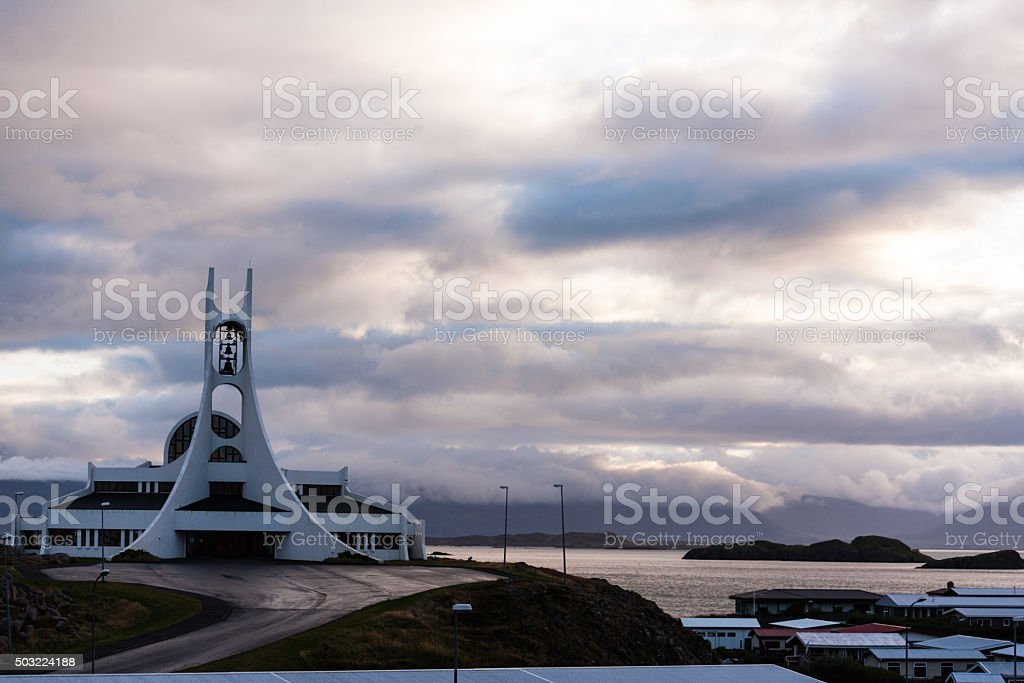 Stykkisholmskirkja (1990), one of the many Icelandic churches. stock photo