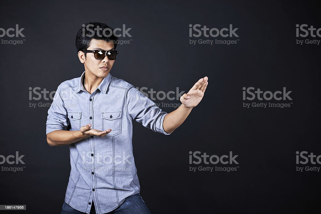 Style of fighting in the studio stock photo