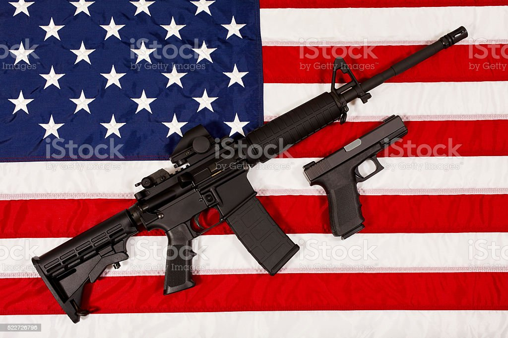 AR15 M4A1 Style Weapon Automatic Rifle and Pistol USA Flag stock photo