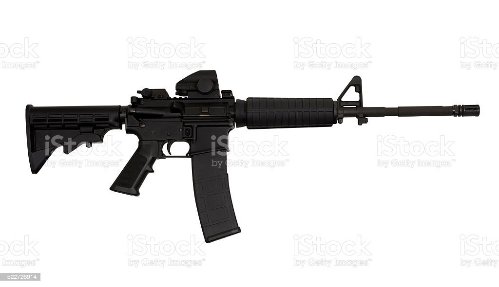 AR15 M4A1 Style Weapon USA Combat Automatic Rifle stock photo