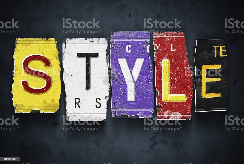 Style word on vintage car license plates, concept sign royalty-free stock photo