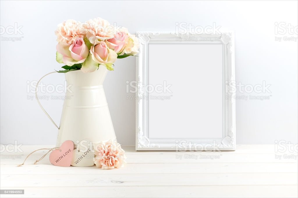 styled stock image with a gold frame stock photo