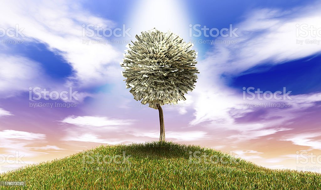 Stylised Money Tree American Dollar Notes On Grassy Hill stock photo