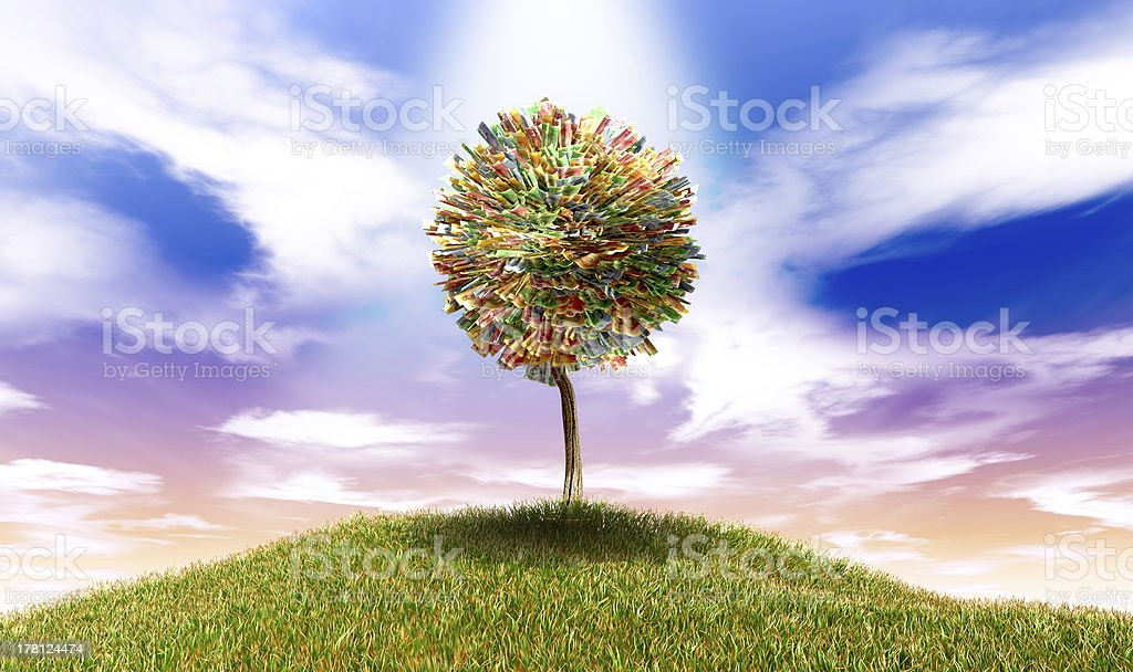 Stylised Money Tree South African Rand Notes On Grassy Hill stock photo