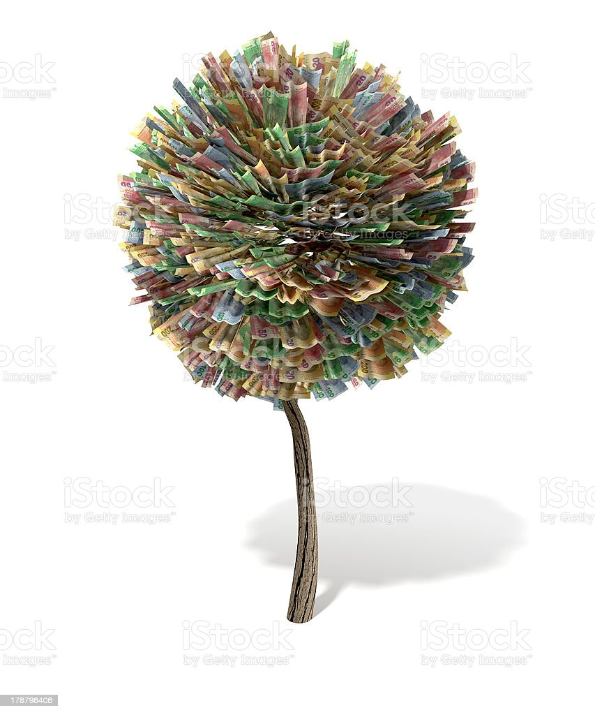 Stylised Money Tree South African Rand Notes royalty-free stock photo
