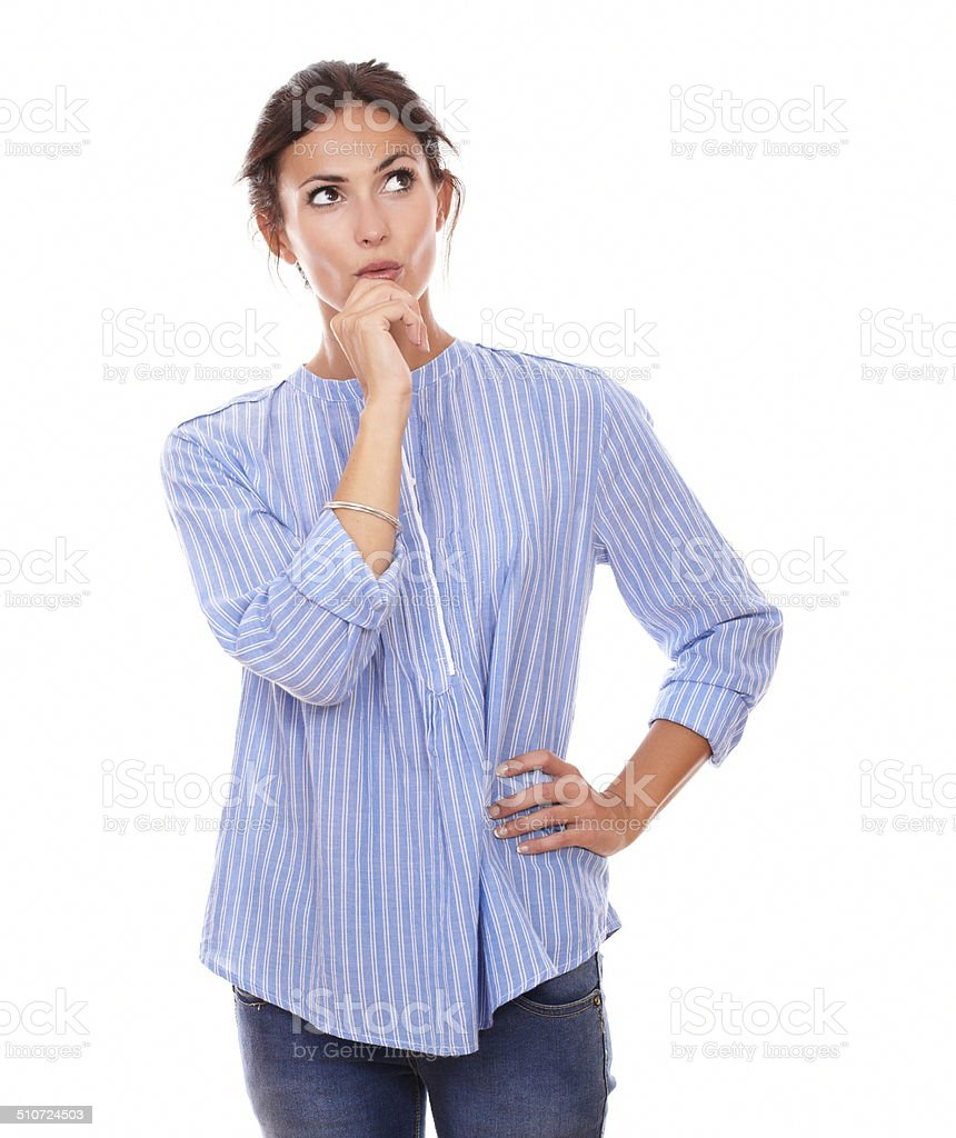 Stylish adult woman asking herself a question stock photo