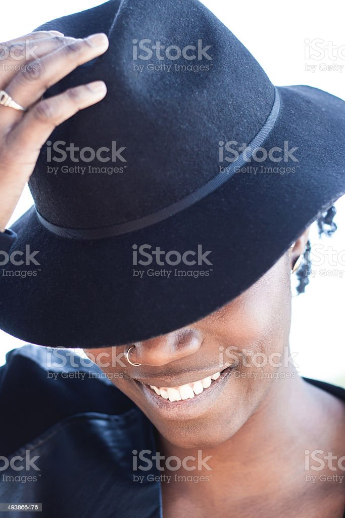 Stylish African woman with a lovely smile stock photo