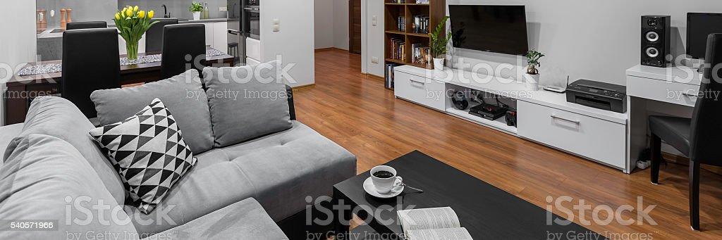 Stylish apartment, panorama stock photo