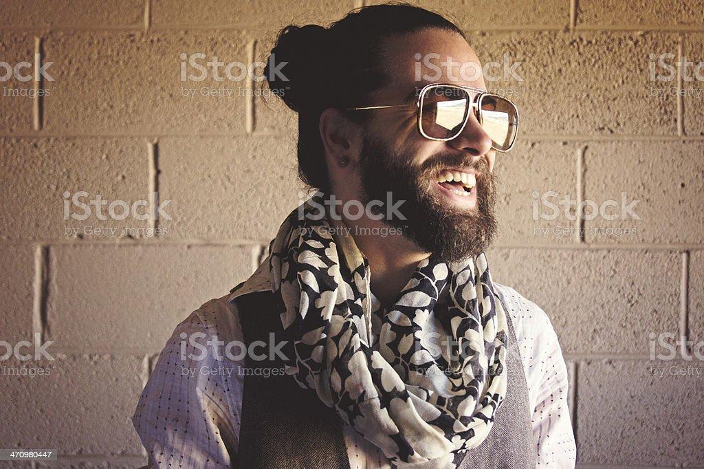 Stylish Bearded Man Laughing stock photo