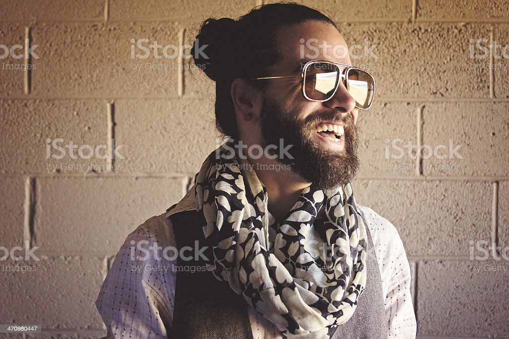 Stylish Bearded Man Laughing stock photo