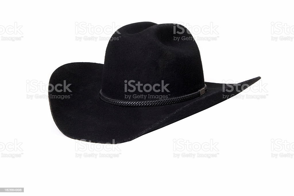A stylish black cowboy hat with upturned rims  stock photo