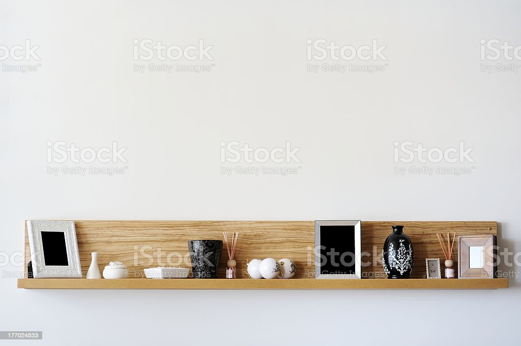 Stylish bookshelf stock photo