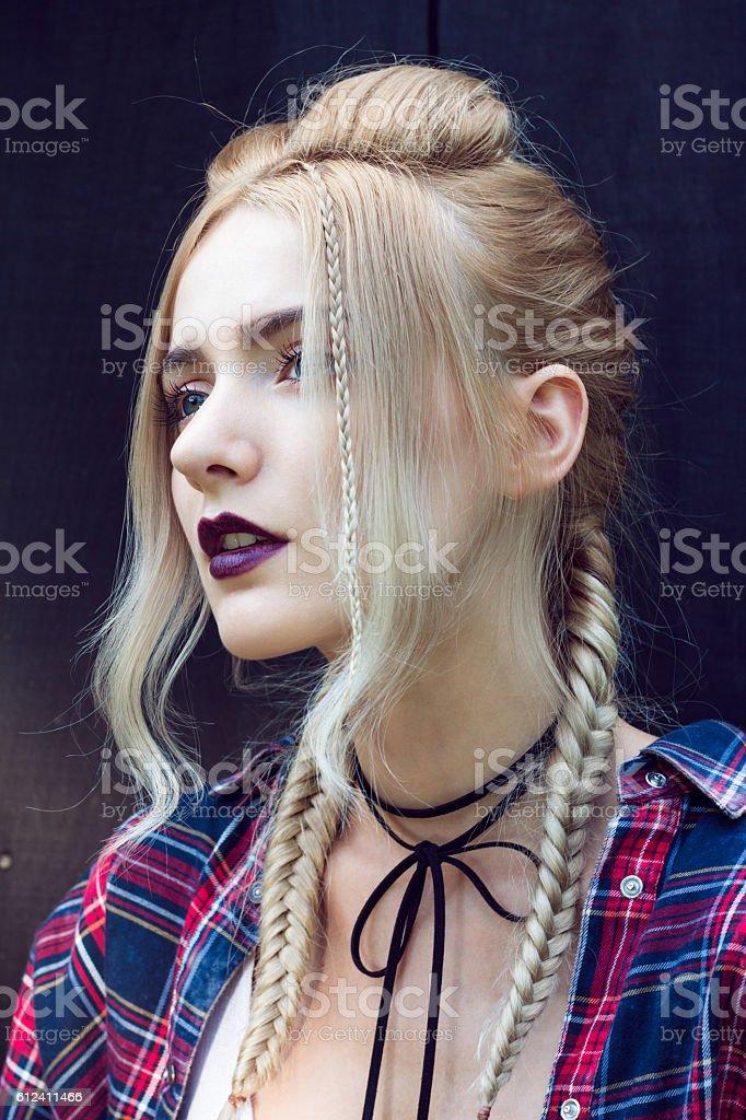 Stylish braided hair stock photo