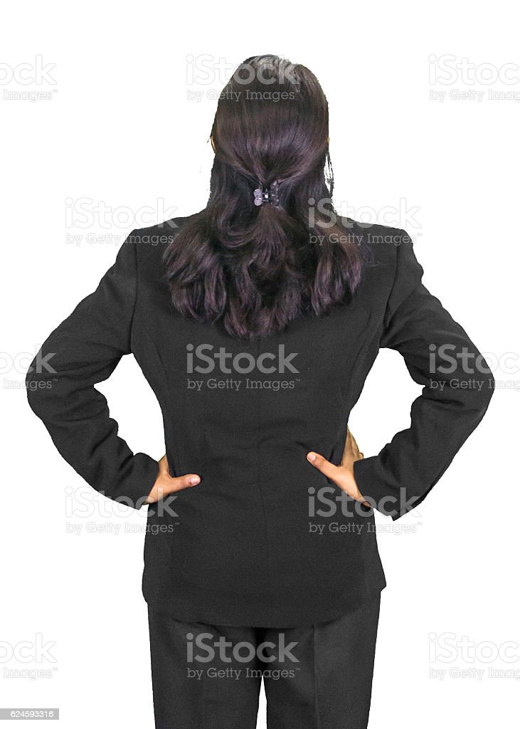 Stylish business woman looking up stock photo